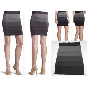Grey Ombre Power Bandage Stretch Knit Skirt